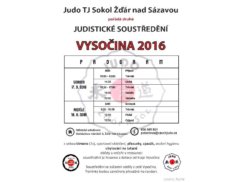 Soustředění Vysočina 2016